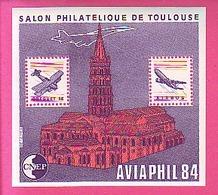 BLOC CNEP N° 5A - 5 A  SALON PHILATELIQUE DE TOULOUSE AVIAPHIL 1984 VARIETE TYPE 2 TOIT COUPE AIRBUS BREGUET 14 - CNEP