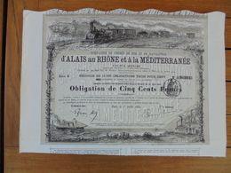 FRANCE - PARIS 1880 - CDF ET NAVIGATION ALAIS AU RHÖNE ET A LA MEDITERRANEE - OBLIGATION 500 FRS - Hist. Wertpapiere - Nonvaleurs