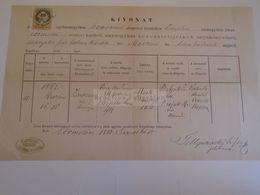 D172627 Old Document - SLOVAKIA Őrmező - Strážske  1885 - Zsuzsanna Berilla (Szopko) Bubjak Kossuth Arnold - Nacimiento & Bautizo