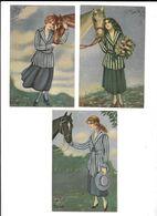 3 Cpa...illustrateur..Dinaf..art Nouveau/art Déco/mode...femmes élégantes Avec Bouquet De Fleurs... Cheval... - Otros Ilustradores