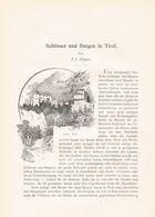587-3 Platter Schlösser Und Burgen In Tirol Artikel Von 1895 !! - Boeken, Tijdschriften, Stripverhalen