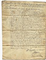 Rhône 69 CHAZAY D'AZERGUES Acte Notarié Du 08 Avril 1790 1000 Livres Moins 1 Sol - Cachets Généralité