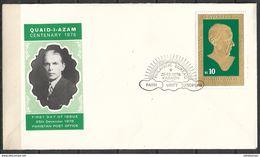 PAKISTAN 1976 FDC BIRTH CENTENARY OF JINNAH GOLD PLATED STAMP - Pakistan