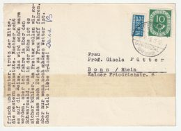 Bund Michel 1951 Nr. 128 EF + Notopfer Berlin, Postkarte Freiburg Günterstal 12.8.53 Nach Bonn, Siehe 3 Scans - [7] Federal Republic