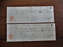 2 Stuks  Betalingsbewijs  Met Watermerk In Papier 1906  En Stempels Handelseffecten  1908 - Chèques & Chèques De Voyage