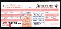 """Billet De Passage """" Charter """" AIRNAUTIC De 1963 émis Par Touring Club De France - PARIS à TENERIFE - Plane"""