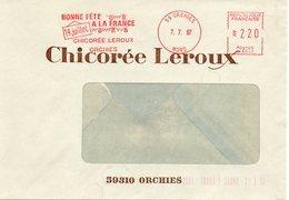 ORCHIES (NORD) : FETE NATIONALE DU 14 JUILLET 1987 EMA ROUGE Enveloppe CONCORDANTE Chicorée LEROUX - Celebrations