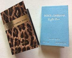 DOLCE & GABBANA : 2 Tubes échantillons Sur Cartes - Perfume Samples (testers)