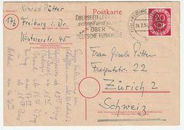 Bund Michel 1951 Nr. 130 EF Postkarte, Freiburg 24.7.51 In Die Schweiz, Werbestempel, 3 Scans - [7] Federal Republic