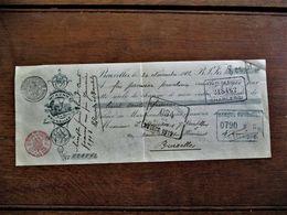 Betalingsbewijs   W M .  KUNNE  Bruxelles 1912 Met 7 Stempels Gesigneerd - Cheques & Traveler's Cheques