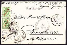 1901 AK Aus INKOU Russische Post In China Nach Bremerhaven. Nebenstempel  Shanghai Sowie Chinesische Und Französische - China