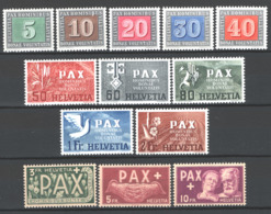Svizzera 1945 Pace Unif.405/17 */MH VF - Unused Stamps