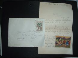 LETTRE TP EUROPA 20F OBL. HEXAGONALE Tiretée 3-12 1954 SAULIEU (COTE D'OR) CP N°5 + Expéditeur + Correspondance Située - Marcophilie (Lettres)