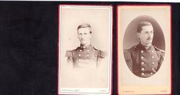 2 CDV Photographes NANCY   : 2 Portraits De Militaires 26 ème  Régiment D'infanterie De Ligne Vintage Albumen - Fotos