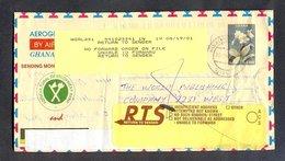 GHANA 24760 AEROGRAM RETURN TO SENDER ATTEMPTED NOT KNOWN RTS CRINUM JAGUS - Ghana (1957-...)