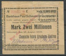 Notgeld / Scheck Aus BITTERFELD (#10) - Bankhaus Schauseil / Chemische Fabrik Griesheim - Zwei Millionen Mark - Acciones & Títulos