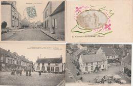 4 CPA:ESTERNAY (51) RUE GAUCHARD,PLACE DU MARCHÉ AUX GRAINS COMPTOIRS FRANÇAIS,POTERIE AUTRAU,CHÂTEAU - Esternay