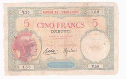 Banque De L'Indochine DJIBOUTI 5 Francs 1925-1938 Alphabet : V.50 N°160 - Djibouti
