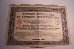 OBLIGATION DE  MILLE  FRANCS  - ENERGIE ELECTRIQUE DU LITORAL MEDITERRANEEN  ( 1930 ) - Electricity & Gas