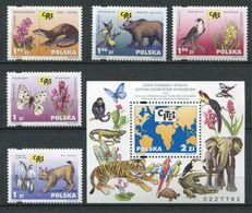 265 - POLOGNE 2001 - Yvert 3666/70 BF 153 - Ours Papillon Rapace Elephant Linx - Neuf ** (MNH) Sans Trace De Charniere - 1944-.... Republic