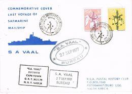 36925. Carta Mail Ship SAFMARINE , CAPE TOWN (Sout Africa) 1977. Last Voyage S.A. VAAL - Afrique Du Sud (1961-...)