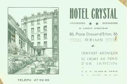 51 - REIMS - Carte De Visite De L' Hôtel Crystal Directeur M. Lenoir - Reims