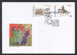3333 D70 Slowenien Slovenia 2020 FDC Europa CEPT Ancient Postal Routes Historische Postwege Animal Horse Pferd - Slovenia