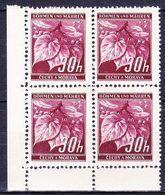 Boheme Et Moravie 1939 Mi 24 (Yv 24), (MNH)** Bloc De 4-coin De Feuille - Bohême & Moravie