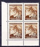 Boheme Et Moravie 1941 Mi 64 (Yv 41), (MNH)** Bloc De 4-coin De Feuille - Bohême & Moravie