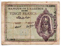 Tunisie / 20 Francs /  3/4/1945 /  Etat TB - Tunisie