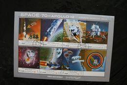 Yemen YAR Space Apollo 12  MoonLanding Sheet Of 7 + Label Cancelled 1970 A04s - Yemen