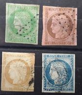 Colonies Générales,  Type CERES 1872,  4 Timbres Obl, Yvert No 17, 18, 19, 23 , B / TB Cote 162 Euros - Ceres