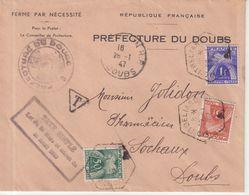 FRANCE : DE BESANCON POUR SOCHAUX . TAXEE à 4.50 F . 3 EX GERBE . à MONBELIARD . - Postmark Collection (Covers)