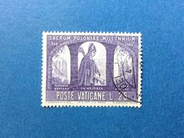1966 VATICANO MILLENARIO CATTOLICO DELLA POLONIA 25 LIRE S ADALBERTO FRANCOBOLLO USATO STAMP USED - Vatican