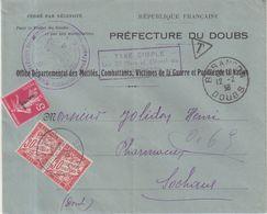 FRANCE :DE BESANCON POUR SOCHAUX . TAXEE A 0.65 Cts . DONT 1.50 Cts TYPE SEMEUSE . 1938 . - Marcophilie (Lettres)
