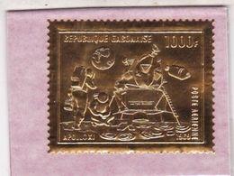 GABON TIMBRE EN OR (GOLD) Poste Aérienne N° 92 1000 Fr APOLLO XI, Neuf **(MNH). - Gabon (1960-...)