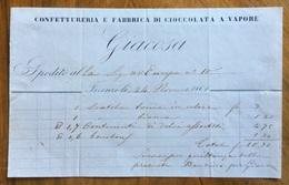 """CIOCCOLATO - CONFETTURERIA E FABBRICA DI CIOCCOLATO A VAPORE  """" GIACOSA """"   FIRENZE 24/11/1861  - FATTURA - Other"""