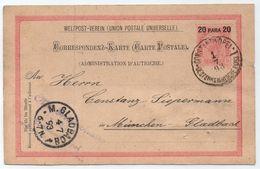 CONSTANTINOPLE - LEVANT AUTRICHIEN /1893 ENTIER POSTAL POUR L'ALLEMAGNE (ref LE4171) - Oriente Austriaco