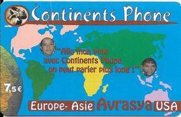 CARTE-PREPAYEE-7,5€-CONTINENTS PHONE-Exp 30/06/2007-Plastic Epais-Gratté-TBE-RARE     - - France