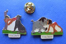 2 Pin's,THOMY,DISNEY BY NESTLÉ,MOGLI,ELEFANT,PANTHER - Marcas Registradas