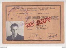 Au Plus Rapide Carte D'arbitre De Basket-ball 1942 1943 US Aubenas Ardèche - Altri