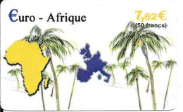 CARTE-PREPAYEE-50F/7,62€-€URO-AFRIQUE-Exp31/12/2004-Plastic Fin-Gratté-TBE-RARE     - - France