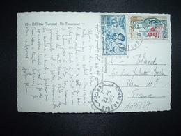 CP DJERBA UN TISSERAND TP PRODUITS DE TUNISIE 10M + MONASTIR 15M OBL.22-6 1963 NIDOUR TUNISIE - Tunisia