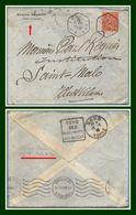Jouy 89 Type AGP 1930 / Sem. Lettre En Tête Du Député Maire De Sens > Verso Daguin Sens + OMEC Saint Malo - Marcophilie (Lettres)