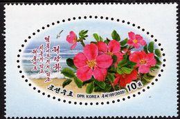 North Korea - 2020 - Sweet Brier - Rosa Rubiginosa - Mint Stamp - Corea Del Nord
