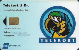 Denmark - Tele Danmark (chip) - Parrot, Visiting Card, (No Name) - TDP320 - 07.1999, 5kr, 2.700ex, Used - Danemark