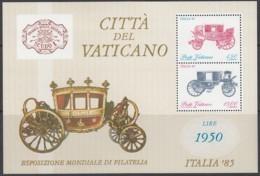 VATIKAN  Block 8, Postfrisch **, Internationale Briefmarkenausstellung ITALIA '85, Rom 1985, Reisekutschen - Blocks & Sheetlets & Panes