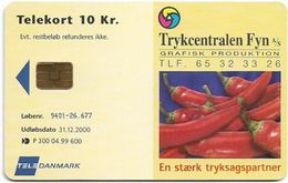 Denmark - Tele Danmark (chip) - Trykcentralen Fyn - TDP300 - 04.1999, 600ex, 10kr, Used - Danemark