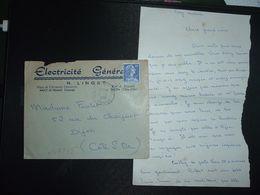 LETTRE TP M. DE MULLER 20F OBL.4-7 1958 ANCY LE FRANC YONNE (89) ELECTRICITE GENERALE R. LINGET - Marcofilia (sobres)
