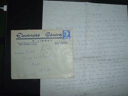 LETTRE TP M. DE MULLER 20F OBL.20-3 1958 ANCY LE FRANC YONNE (89) ELECTRICITE GENERALE R. LINGET - 1921-1960: Modern Tijdperk